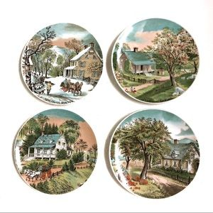 Vintage Collectible Currier & Ives 4 Seasons Plate